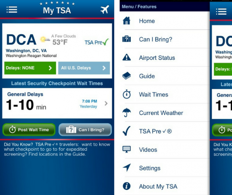 Screenshots of the MY TSA application