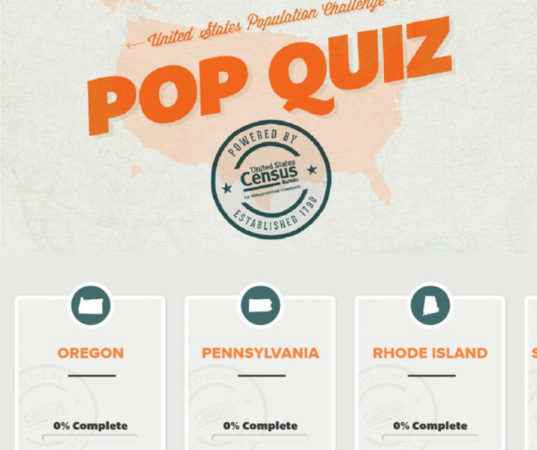Screenshots of the US Population Challenge Pop Quiz application