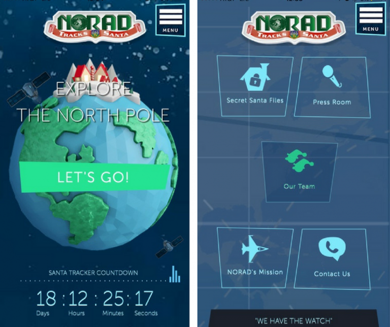 Screenshots of the NORAD Santa Tracker application