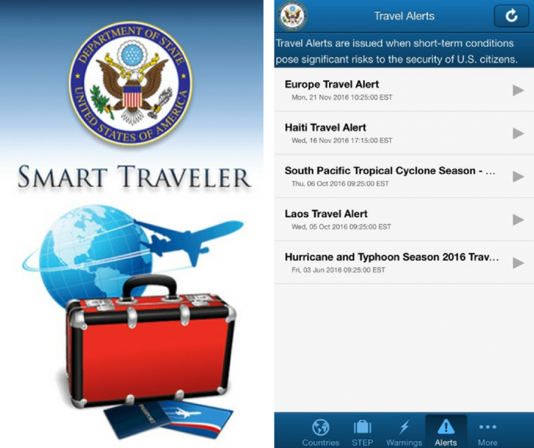 Screenshots of the Smart Traveler application