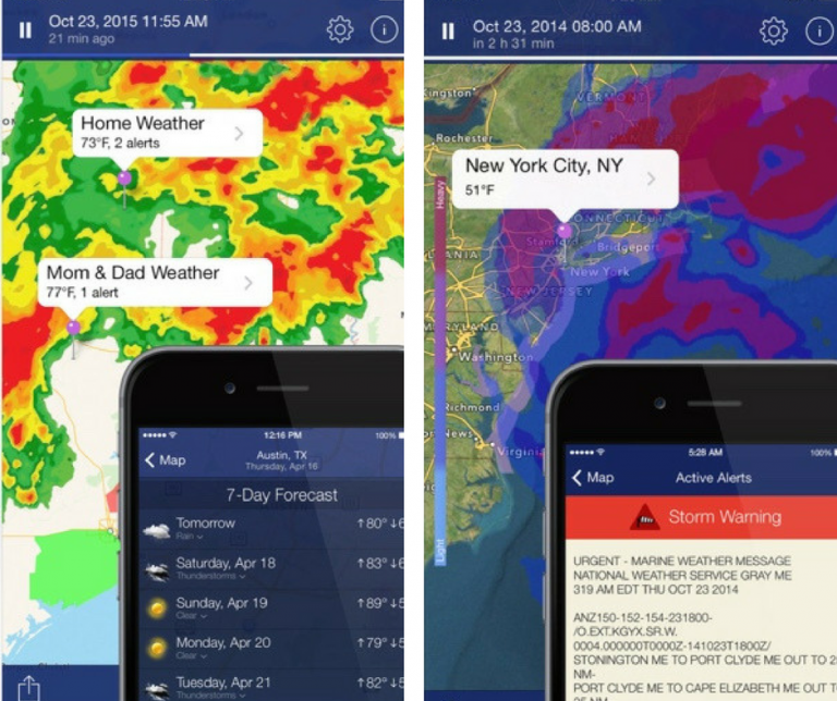 Screenshots of the NOAA Radar Pro application