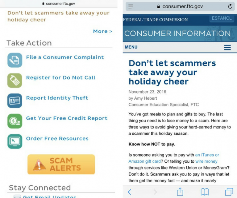 Screenshots of the Consumer Information mobile application