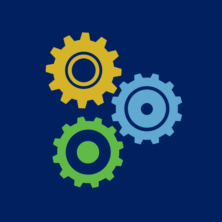 Yellow, blue, and green interlocking gears