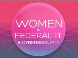Women in Federal IT and Cybersecurity within pink circle
