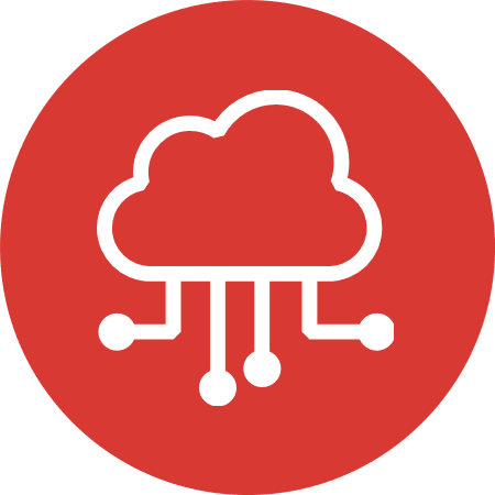 Red cloud icon signifying Cloud & Infrastructure: Driving agency adoption of cloud services