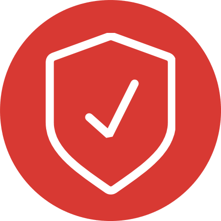 Red shield icon with white checkmark signifying Cybersecurity and FedRAMP: Protecting our federal networks and information